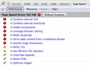 Google Page Speed Tool Analyse Beispiel