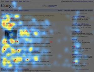 Universal Search-Suchergebnisse Eyetracking