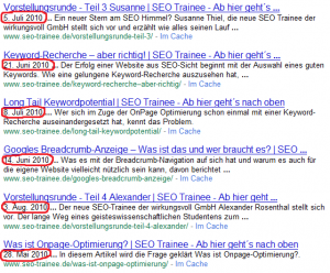 Datum in Google SERP-Descriptions