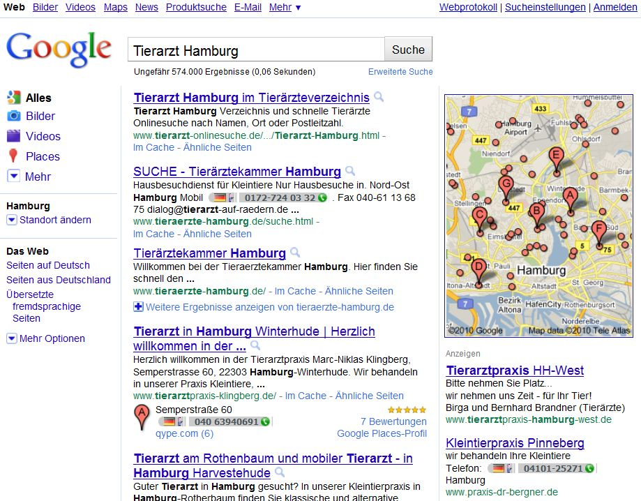 Die neuem lokalen Suchergebnisse