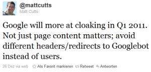 Tweet von Matt Cutts zu Anti-Cloaking