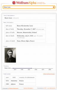 Marie Curie bei wolframalpha