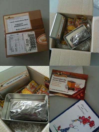 Phasen des Auspackens eines Geschenkes