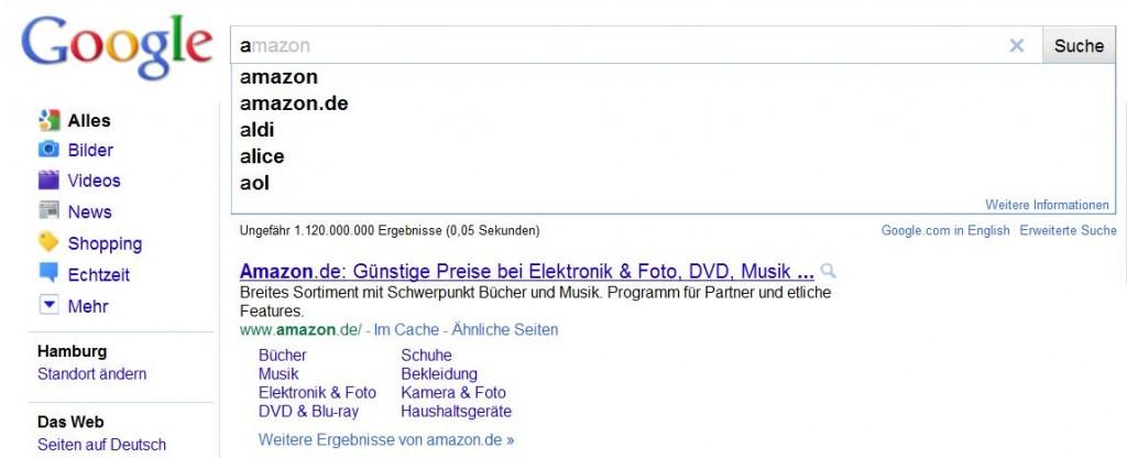 Google Instant Search Amazon