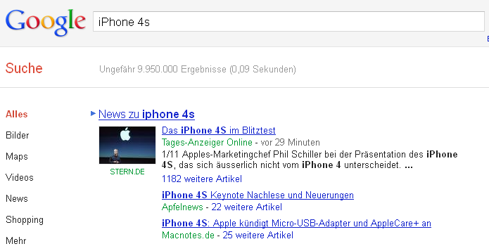 Screenshot der Universal Search