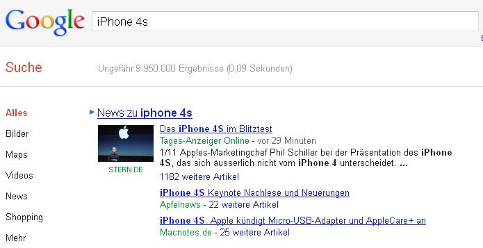Screenshot der Universal Search
