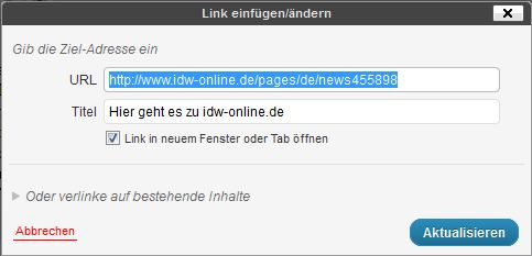 Links bei WordPress