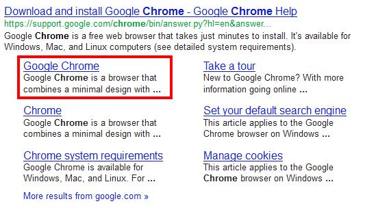Chrome in der Google-Suche