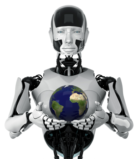 Roboter hält eine Erdkugel in den Händen
