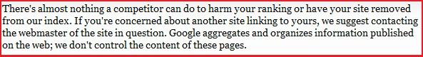 Google's vorheriges Statement zu Negative SEO