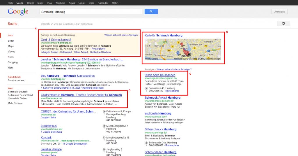 """Google Suchergebnisse """"Schmuck Hamburg"""""""