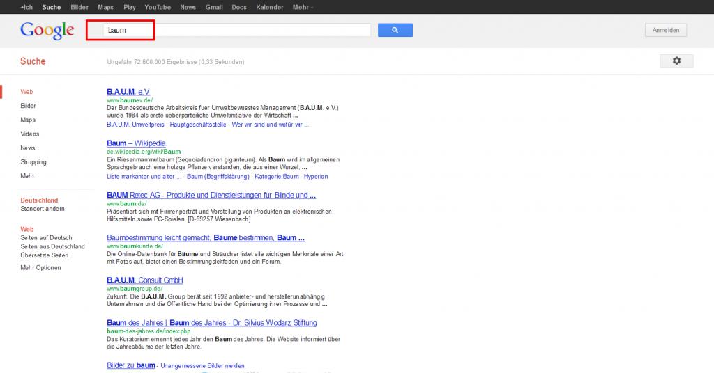 Google Suchanfrage baum