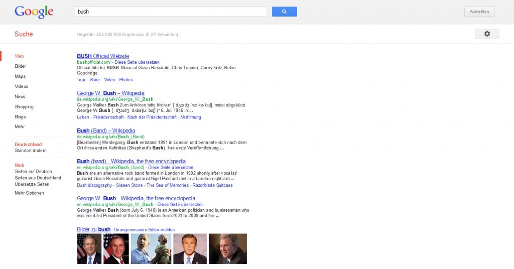 Google Suchergebnisse Bush