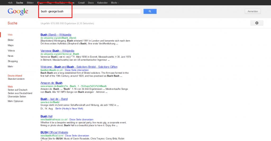 Google Suchergebnisse Bush minus George Bush