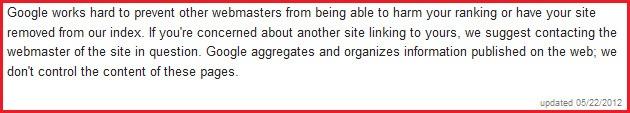 Google's aktuelles Statement zu Negative SEO