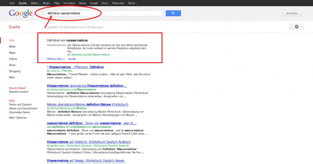 Google Suchergebnisse Wassermelone - Definition