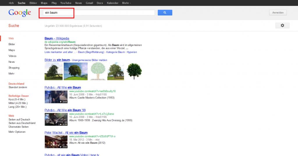 Google Suchanfrage ein baum