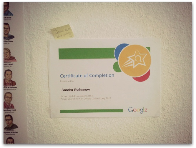 google certificate vom power searcher kurs