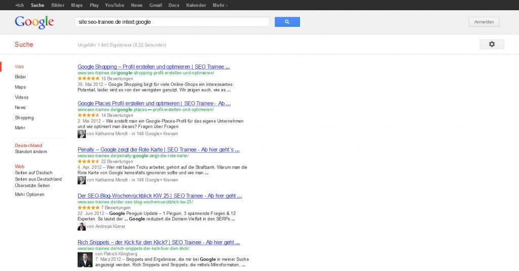 Google Suchergebnisse Seo Trainee Intext Google
