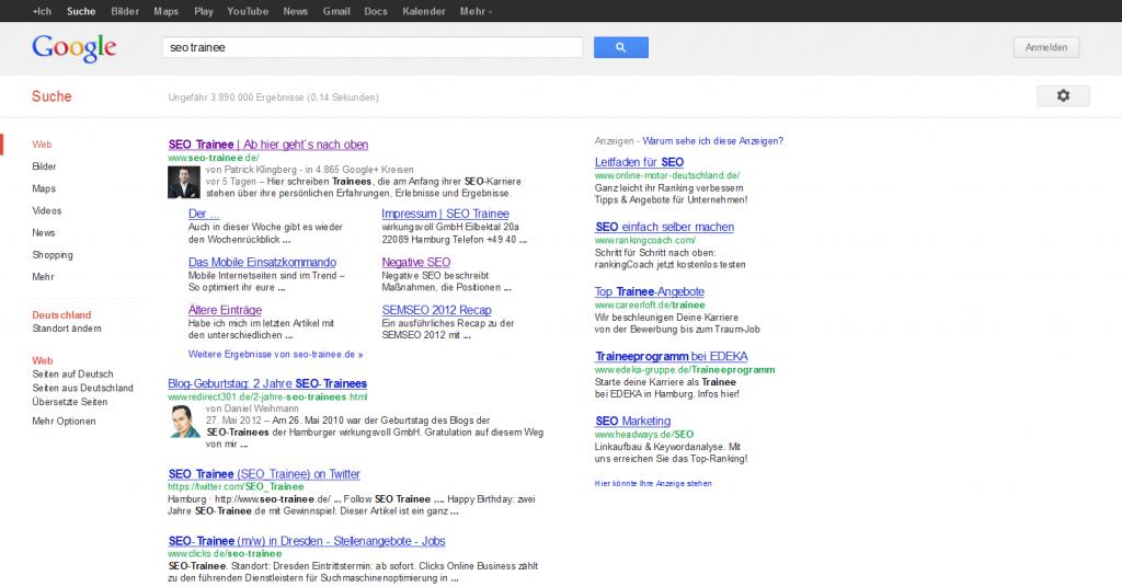 Google Suchergebnisse Seo Trainee