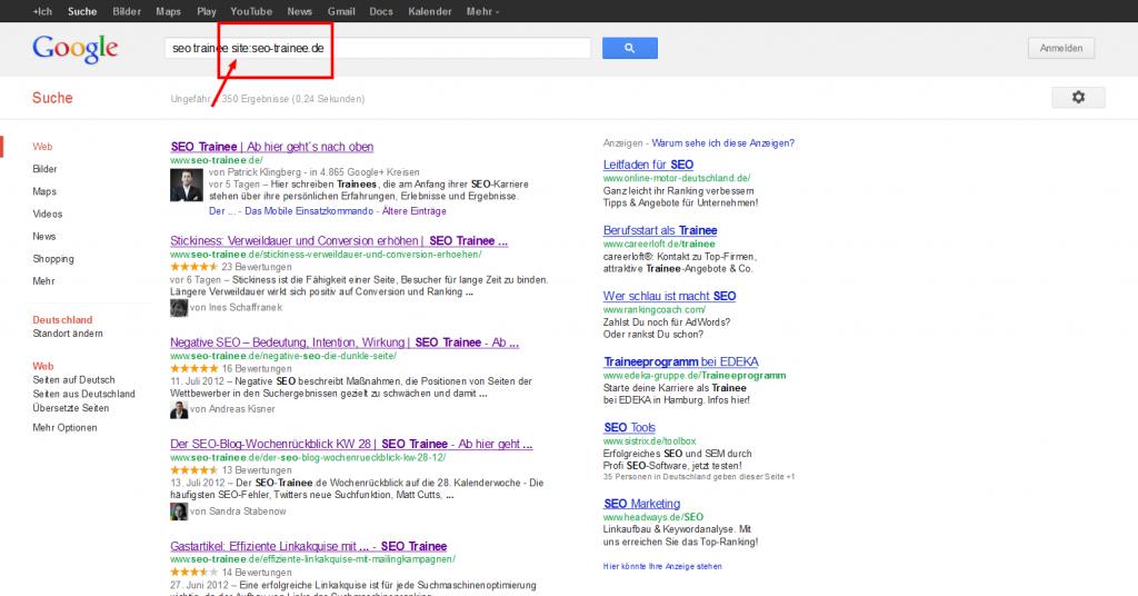 Google Suchergebnisse Seo Traine Site Operator