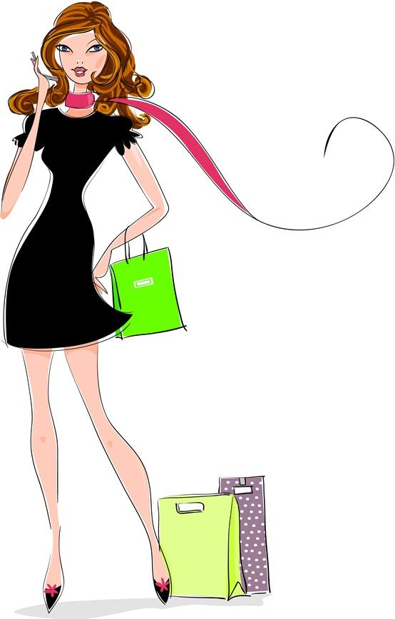 Conversion-Optimierung für zufriedene Kunden: Illustration einer braunhaarigen Frau und Einkaufstaschen.