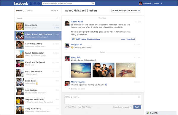 Neues Facebook-Design innerhalb der Messages