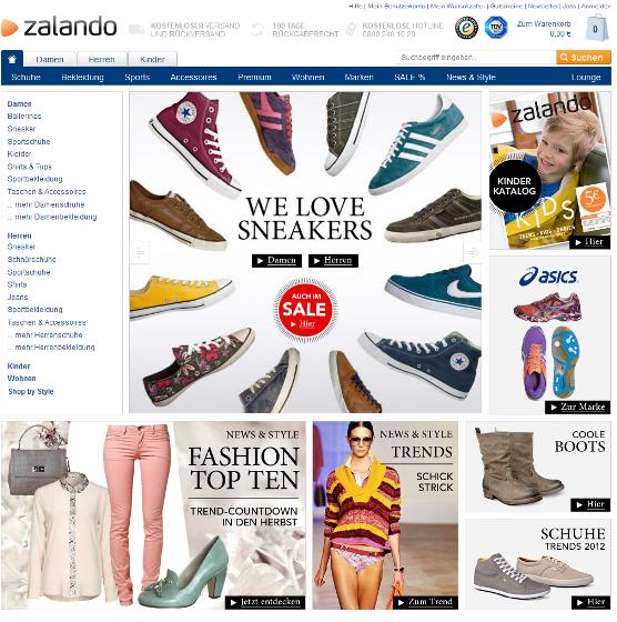 Startseite von Zalando mit allen Produktkategorien