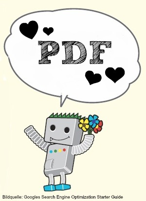 """Die Bildgrafik zeigt, dass PDFs ein gutes Ansehen in den den """"Augen"""" Googles genießen."""