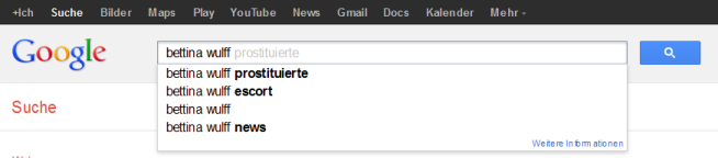 Google Suggests zu Bettina Wulff