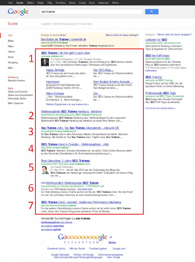 """Die Suchanfrage """"SEO Trainee"""" brachte sieben Suchergebnisse in Google hervor."""