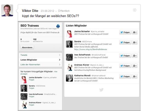 Post: Kippt der Mangel an weiblichen SEOs? Zu sehen ist ein Twitter-Screenshot von den SEO-Trainees-Mitgliedern: Vier von fünf Mitgliedern sind weiblich