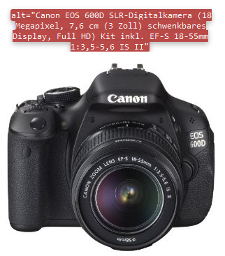Gut ausgefülltes Alt Tag: Canon Kamera