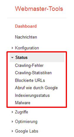 Status – Webmaster Tools