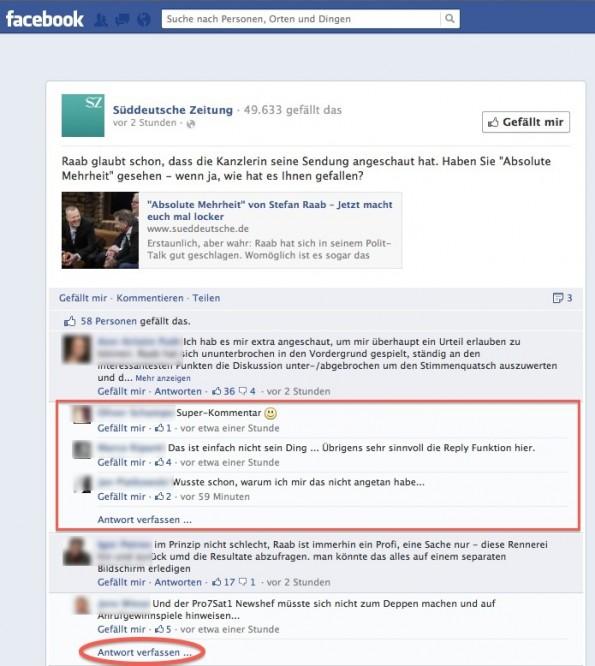 Facebook Kommentar-Threading auf der Fanpage der SZ