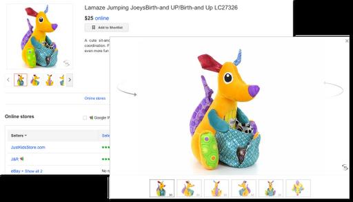 Google Shopping 3D-Ansicht eines bunten Spielkängurus