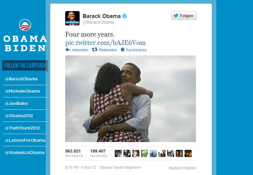 Obamas Tweet zur Wiederwahl: Er und seine Frau fallen sich in die Arme.