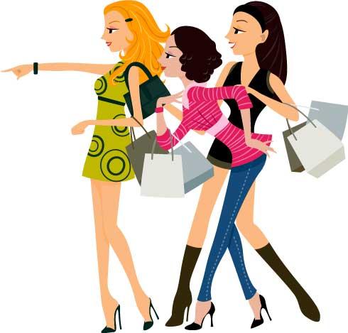 Web oder App? Drei Girlies beim Shopping.