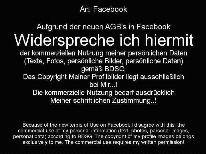 Facebook Hoax AGBs