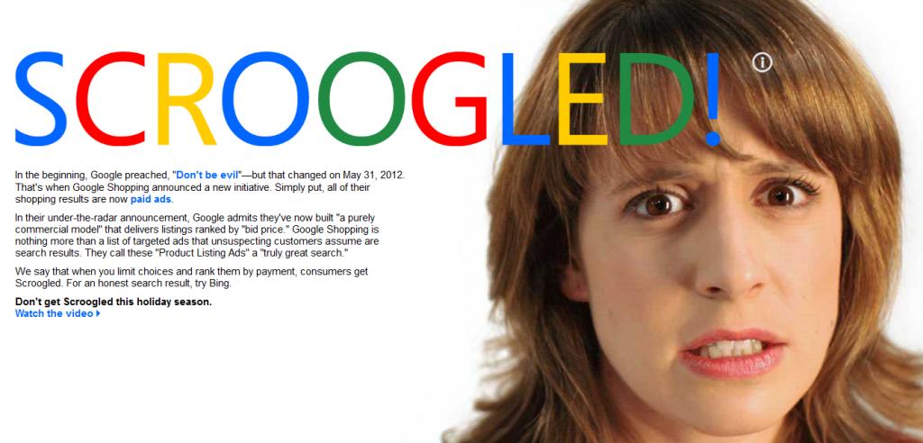 """Landingpage zur Anti-Google-Kampagne """"Scroogled!"""""""