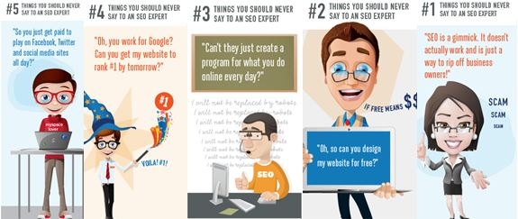 Cartoon, der 5 Dinge zeigt, die man nie zu einem SEO sagen sollte