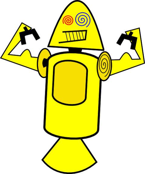 Früher Entwurd Android-Maskottchen: gelber, schrulliger Roboter