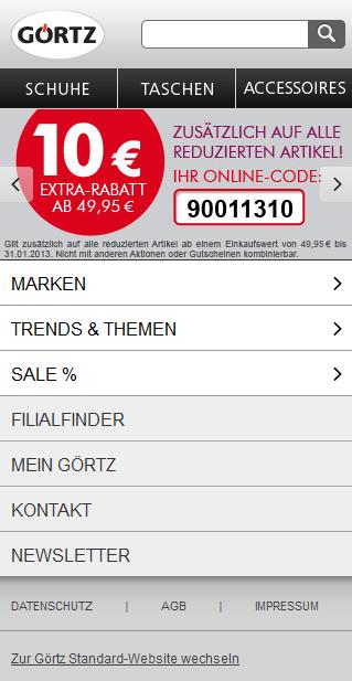 Startseite m.goertz.de: Übersichtliche Struktur, vertikales Menü, Klickflächen