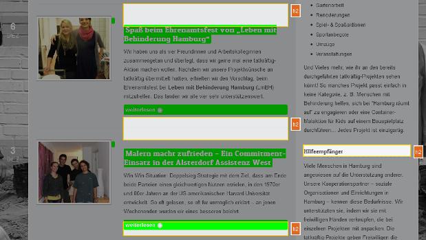 Ausschnitt aus dem Blog, in dem H2-Überschriften markiert sind: Im Blog werden H2-Überschriften für Links und als optische Hervorhebung verwendet