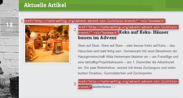 Interne Verlinkung der Blog-Artikel. Die drei Links sind rot untermalt und nummeriert.
