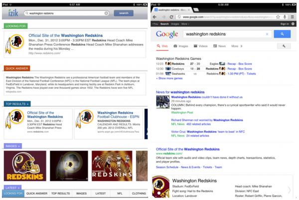 izik-vs-google: Screenshots der beiden Ergebnisseiten im Vergleich