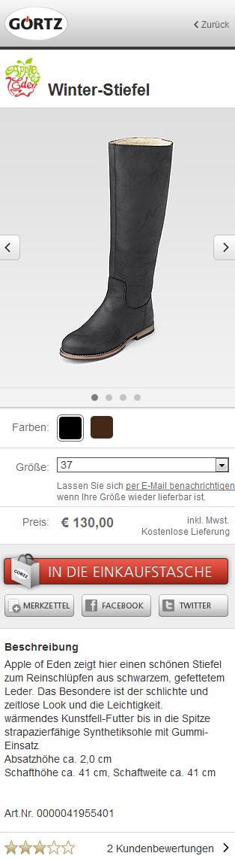Produktdetailseite Görtz mobile: schwarzer Stiefel, Preis und Größe, darunter Produktbeschreibung und Kundenbewertung