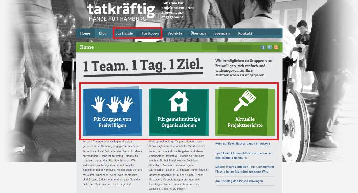 Startseite tatkraeftig.org mit großen farbigen Buttons und Navigationsleiste