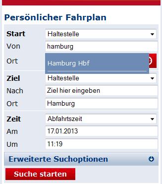 Vorschlag bei Eingabe: Eingetippt wurde Hamburg und automatisch wird dem User Hamburg Hbf vorgeschlagen