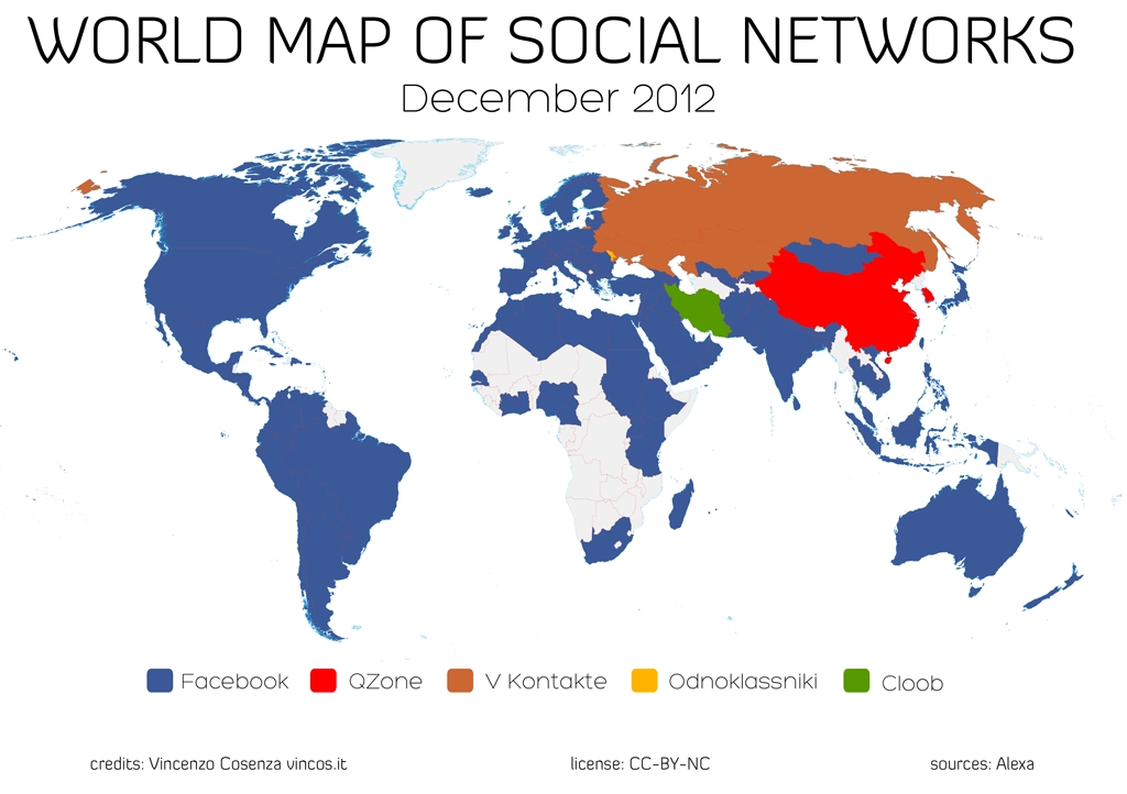 World map of social networks2012
